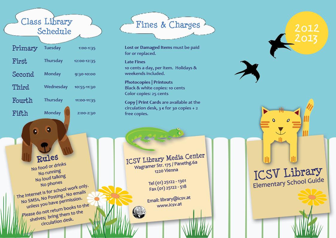 Elementary school library information brochure dax graphics for Elementary school brochure template