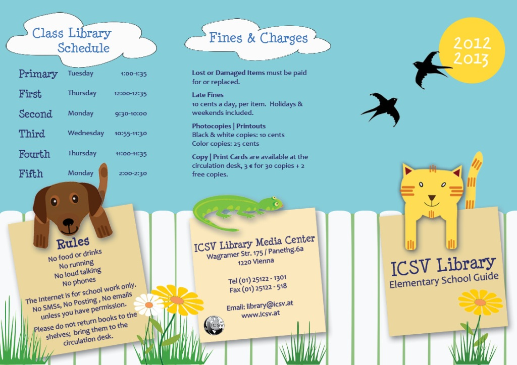 New Tri-Fold Library Guide for the ICSV Elementary School - Draft First Page