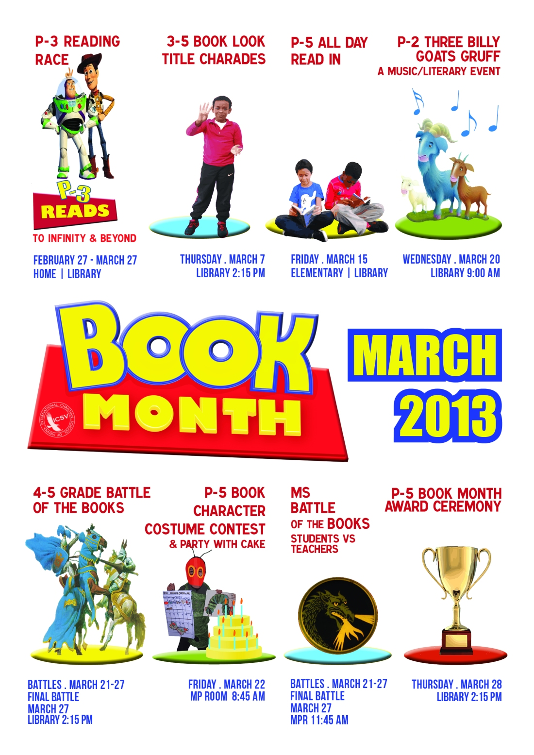 Introducing the 2013 ICSV Library Book Month Event Poster