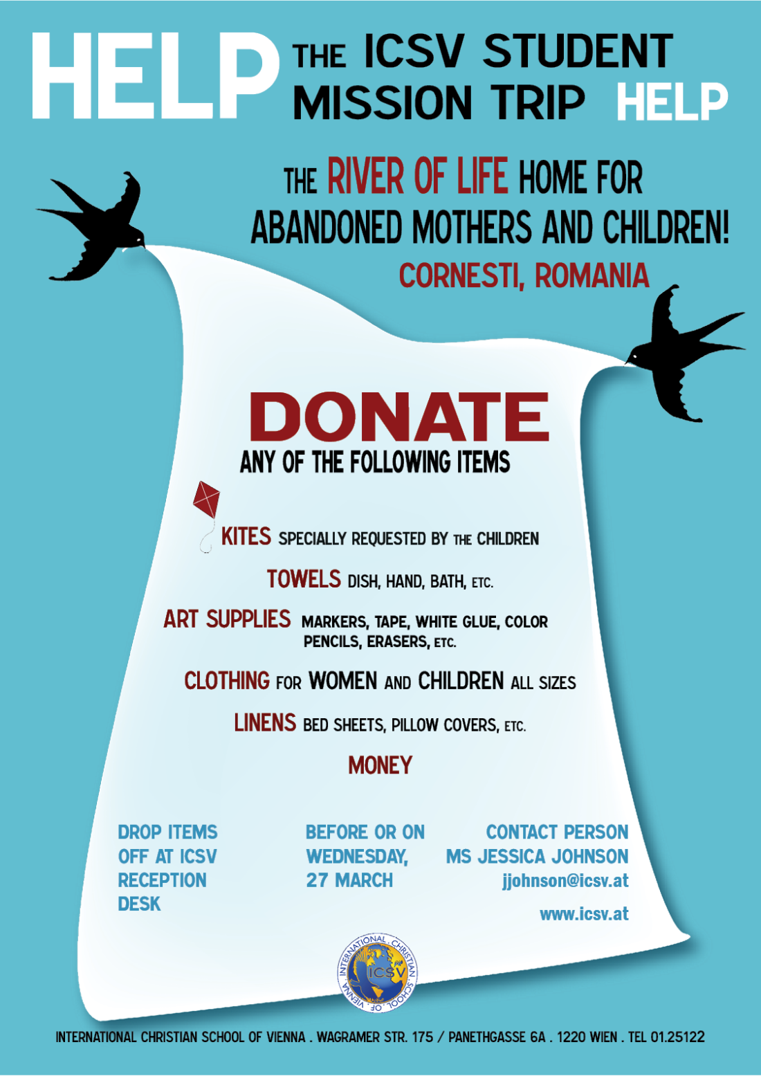 ICSV Romanian Mission Trip Donation Poster  2013