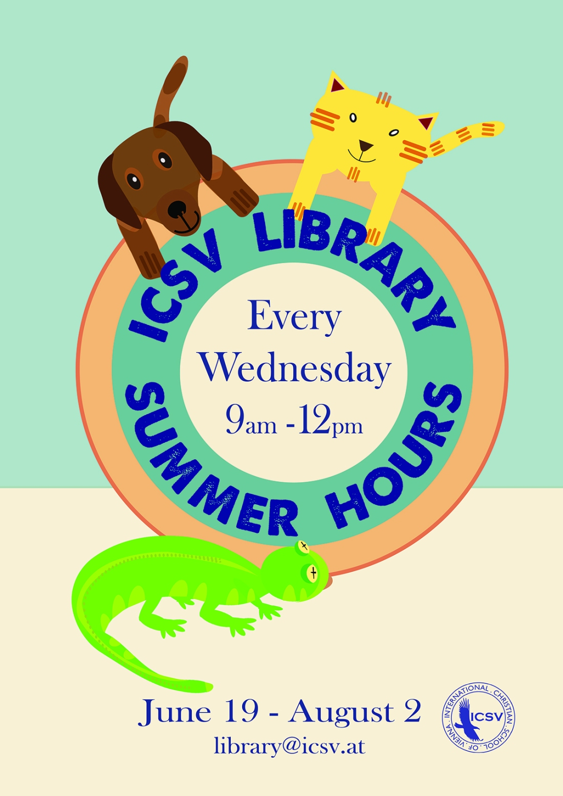 ICSV Library's 2013 Summer Hours Poster