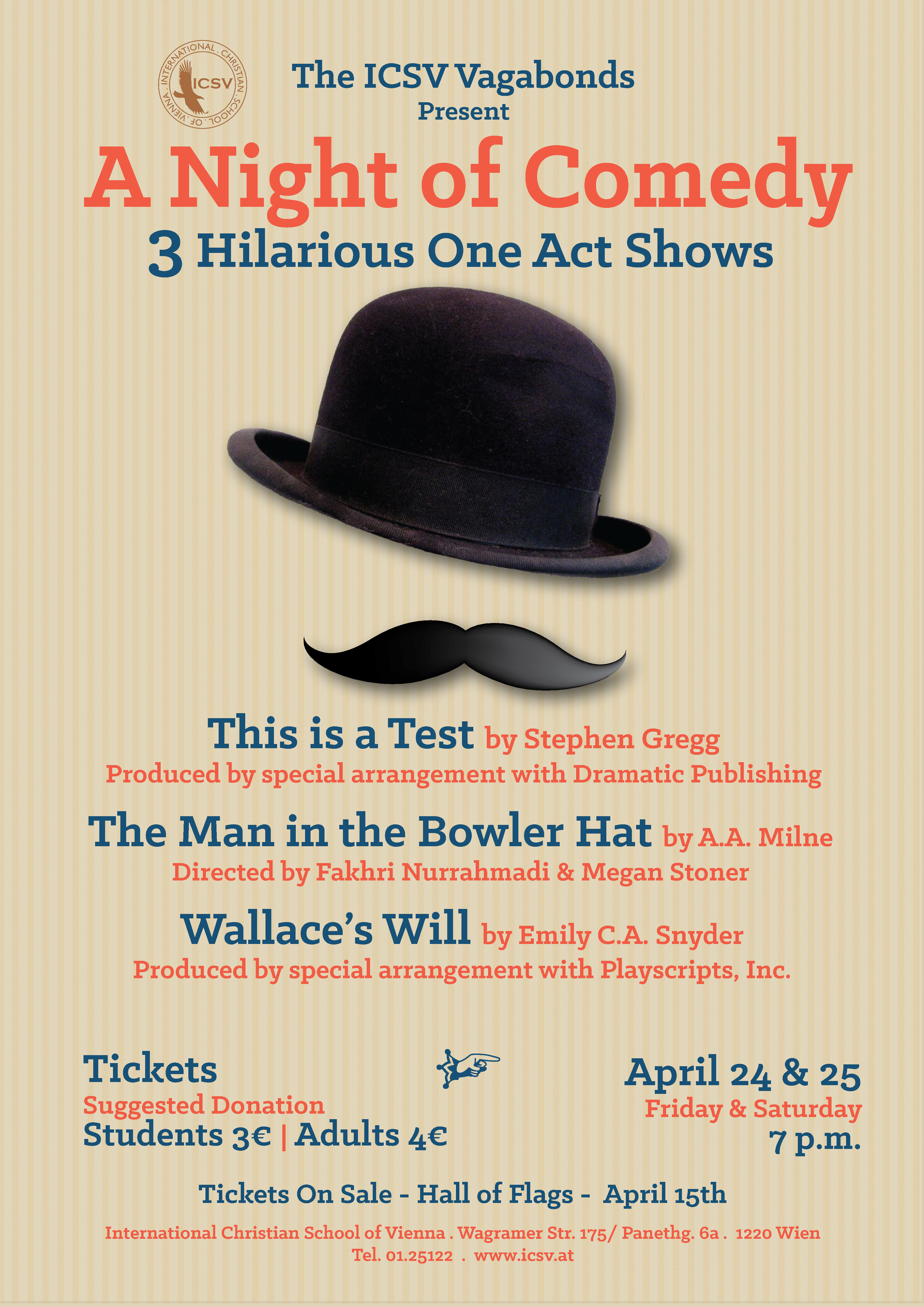 """Latest Poster – """"Night of Comedy – 3 One Act Plays"""" – An ICSV"""