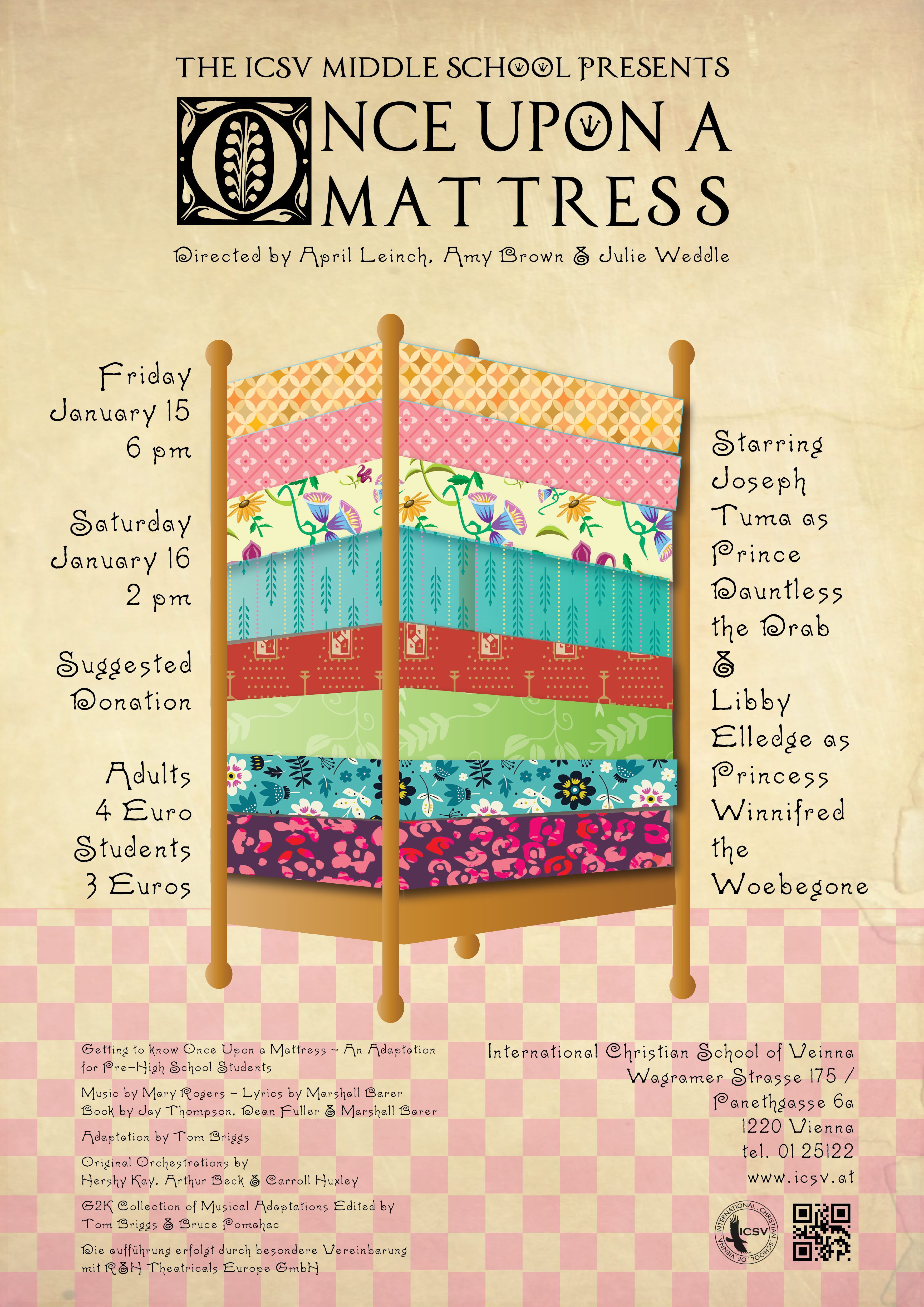 Latest Poster & Program – ICSV Middle School Presents: Once Upon a Mattress  – Dax Graphics☧