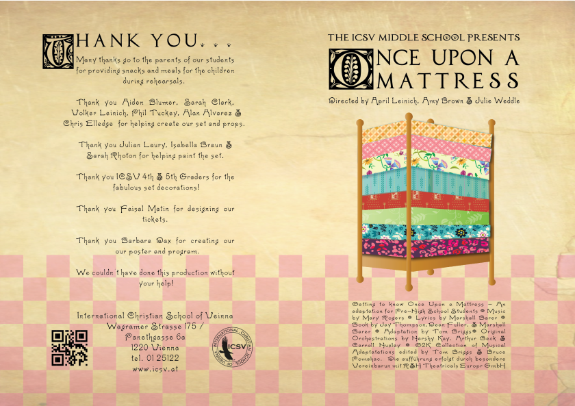Latest Poster Program Icsv Middle School Presents Once Upon A Mattress Dax Graphics
